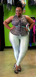Mint Grease Shiny Leggings