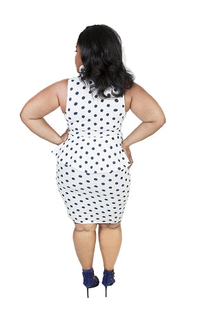 Ivory/Blue Polka Dot Tear Peplum Dress