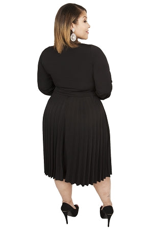 Black Bonnie Pleated Dress
