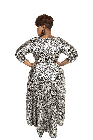 Black Foil Gabby Maxi Dress