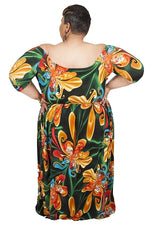 Extended Size Orange Floral Bella Maxi Dress
