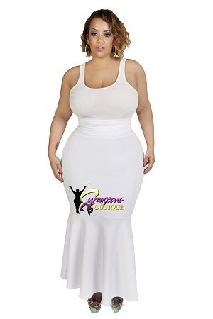 White Flared Mermaid Maxi Skirt