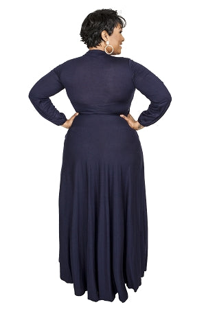 Navy Blue Aliyah Keyhole Maxi Dress
