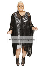 Black Frayed Crochet Top/Poncho
