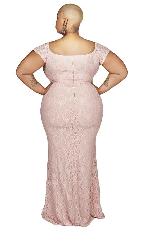 Blush Flower Lace Overlay Gown