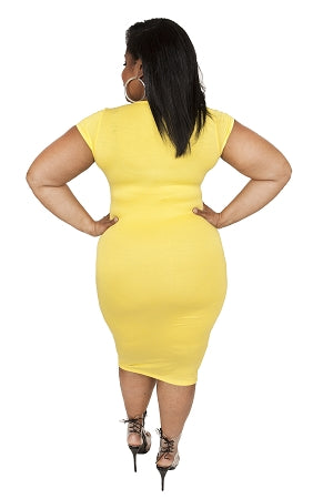 Yellow Cap Sleeve Body-Con Dress