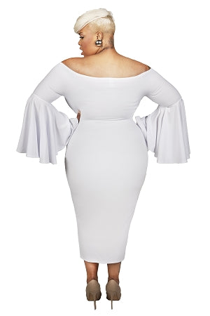 White Adele Bell Sleeve Dress
