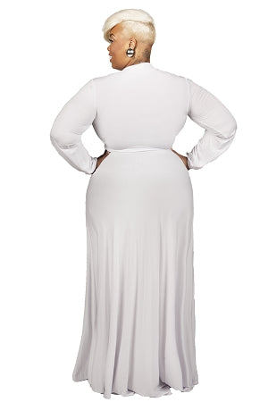 White Aliyah Keyhole  Maxi Dress