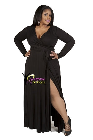 Black Grace Wrap Maxi Dress