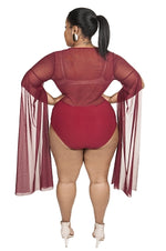 Burgundy Mesh Sleeve Bodysuit