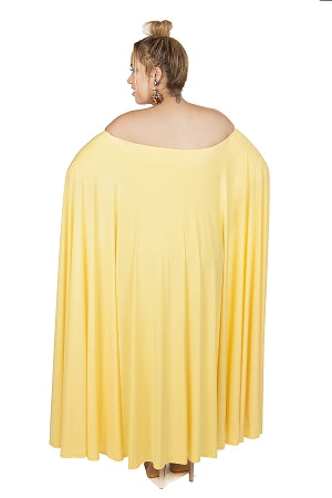 Yellow Aria Cape Off Shoulder Dress