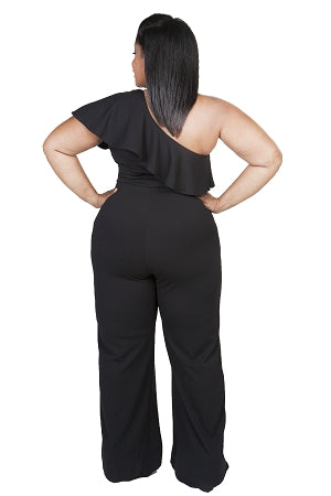Black Chrissy Ruffle Shoulder Jumpsuit