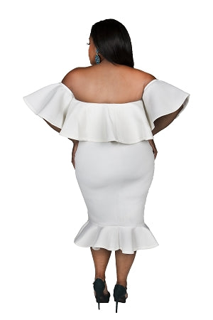 Off White Bre Ruffle Shoulder Dress