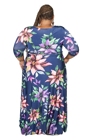 Extended Size Blue Flower Print Gabby Maxi Dress