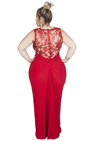 Red Carrington Lace Gown