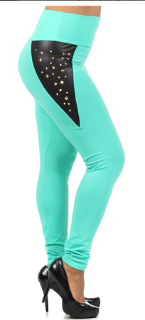 Mint Embellished Leggings