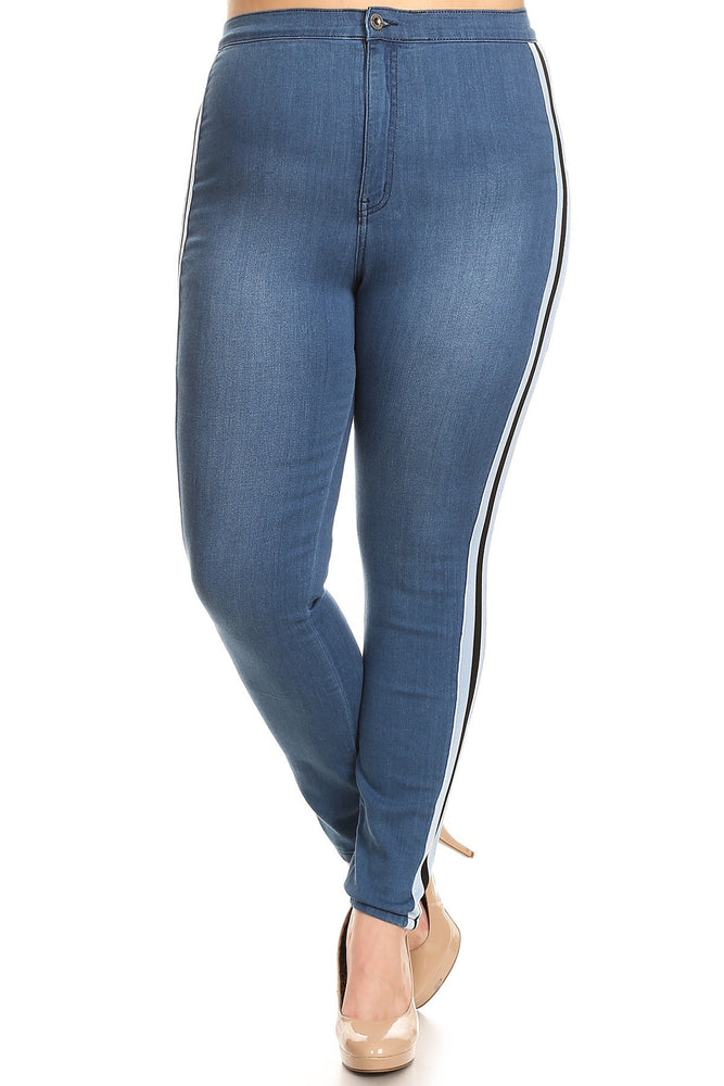 Racer Striped High Waist Jeans