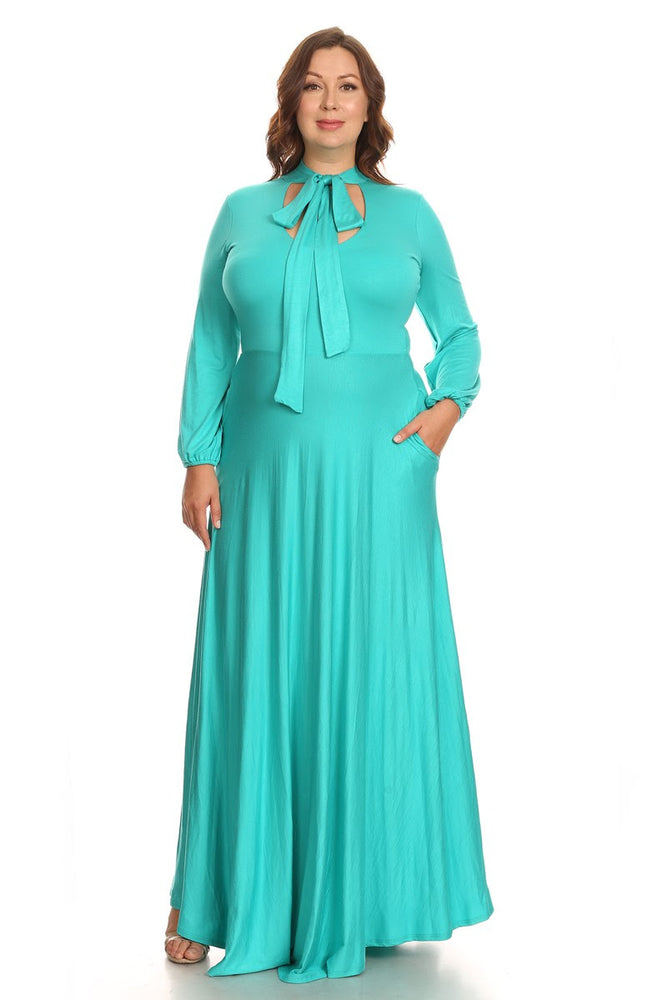 Mint Marquis Bow Tie Maxi Dress