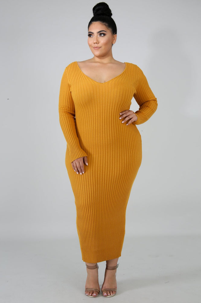 Mustard Tierra Ribbed Dress