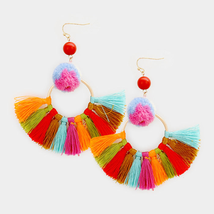 Orange Multi Pom Pom Tassel Earrings