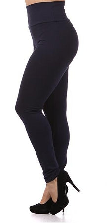 Navy Blue Cotton High Waist Leggings