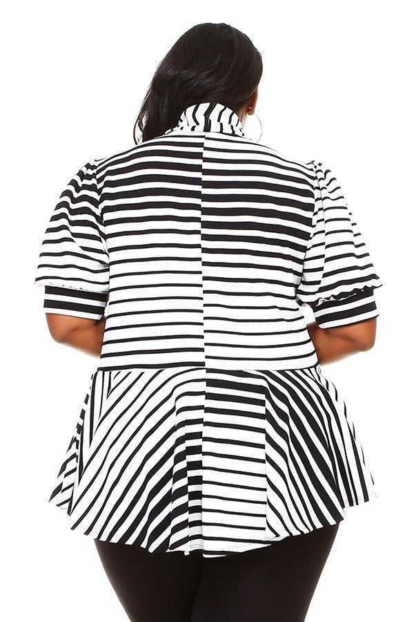Extended Size Stripe Peplum Top