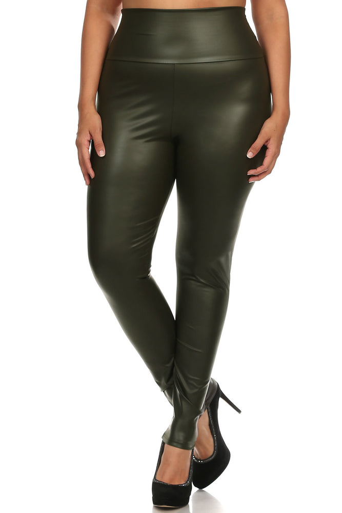 Olive Green Faux Leather High Waist Leggings