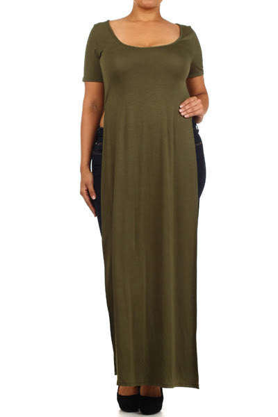 Olive Green Side Slit Maxi Top