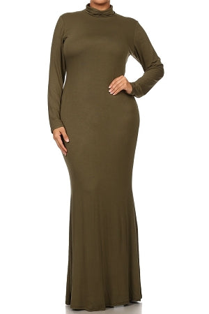 Olive Green Lala Turtleneck Maxi Dress