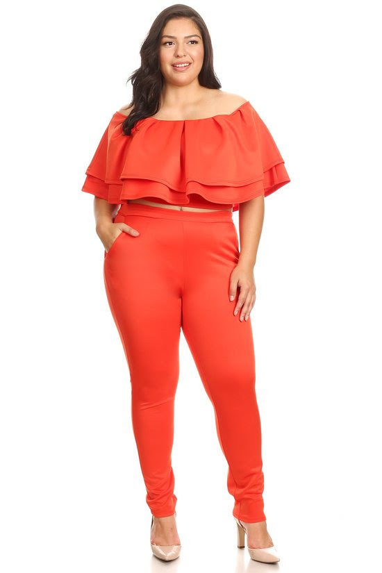 Orange  Justice Tiered Pant Set
