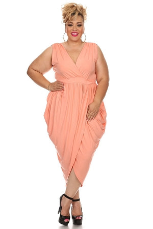 Peach Ke Ke Draped Dress