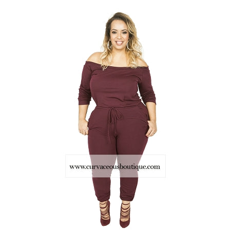 Burgundy Jerrie Off Shoulder Jumpsuit