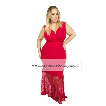 Red Camry Mermaid Lace Maxi Dress