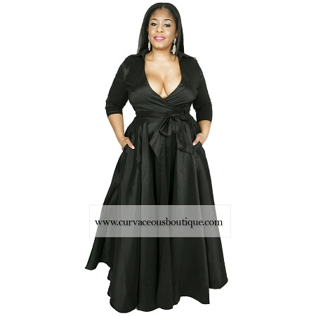 Violet Taffeta Wrapped A- Line Dress