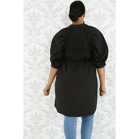 Black Puff Sleeve Long Dress/Top