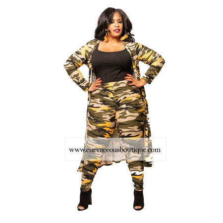 Yellow Camouflage Duster Set