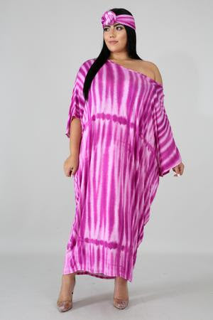 Pink Tie Dye Off Shoulder Baggy Dress