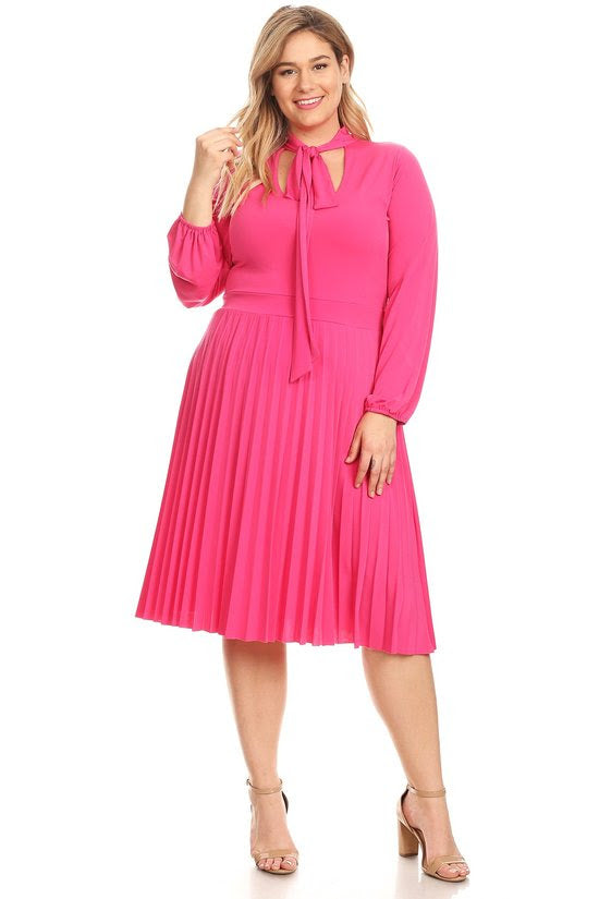 Pink Bonnie Pleated Dress