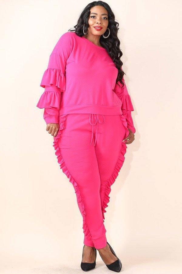 Pink Sailor Ruffle Jogger Set