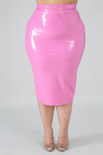 Pink Liquid Pencil Skirt