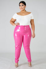 Pink Shiny Liquid Pants