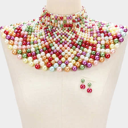 Light Multi Pearl Armor Bib Necklace