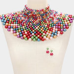 Dark Multi Pearl Armor Bib Necklace