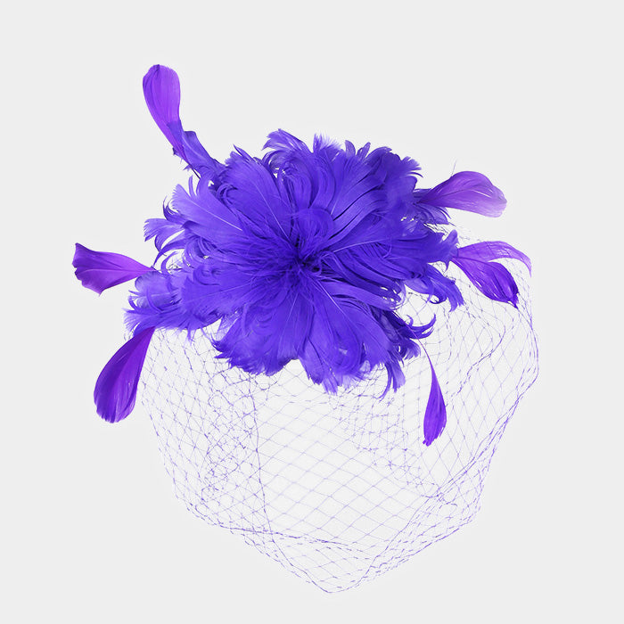 Purple Feather Fascinator Hat
