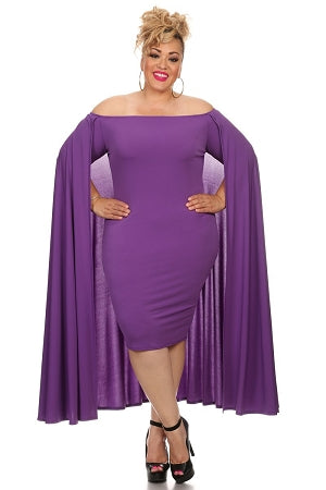 Purple Aria Cape Off Shoulder Dress
