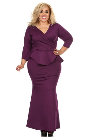 Purple Madelyn Peplum Dress