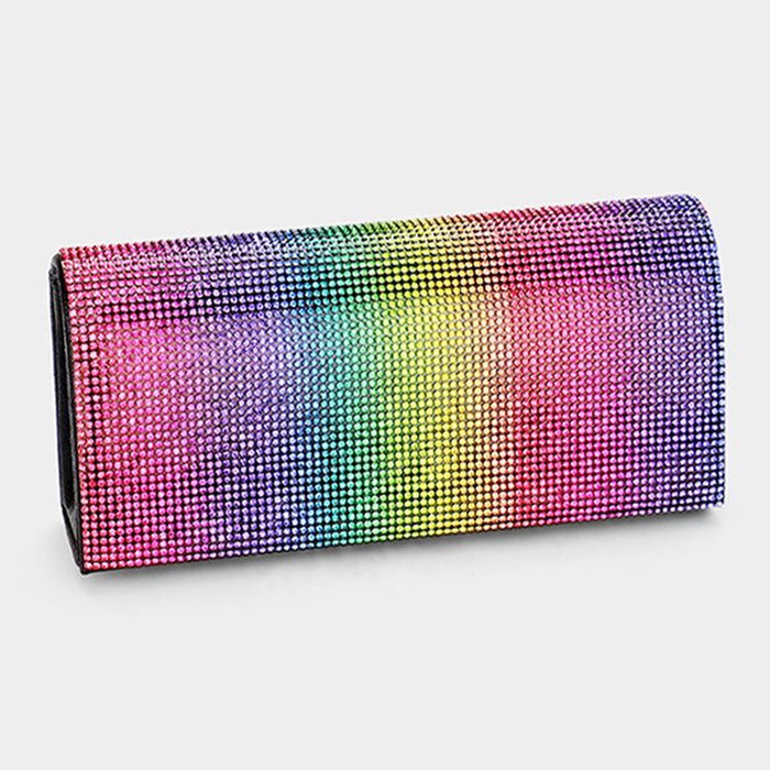 Rainbow Shimmery Evening Clutch Bag
