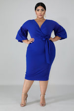 Royal Blue Puff Sleeves Dress