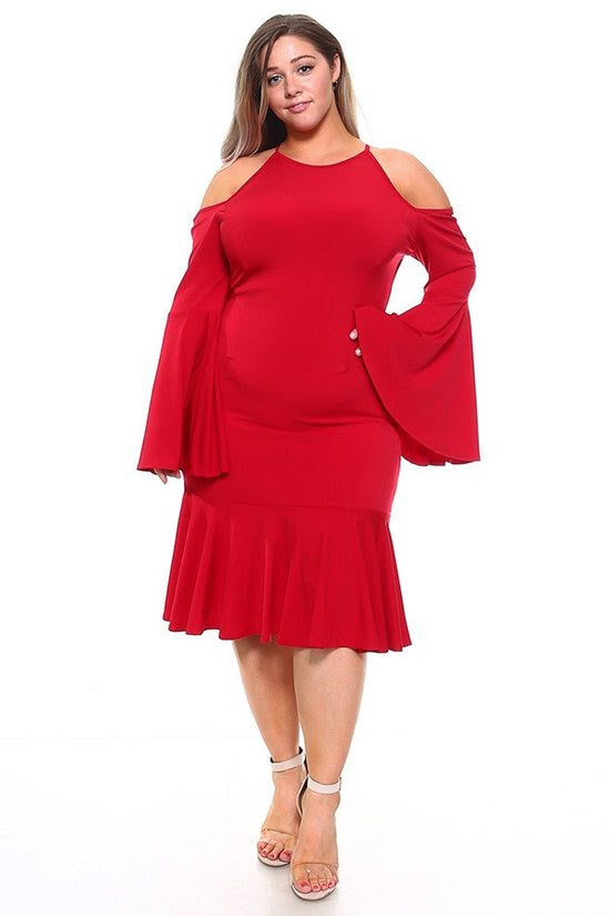 Red Dara Bell Sleeve Dress