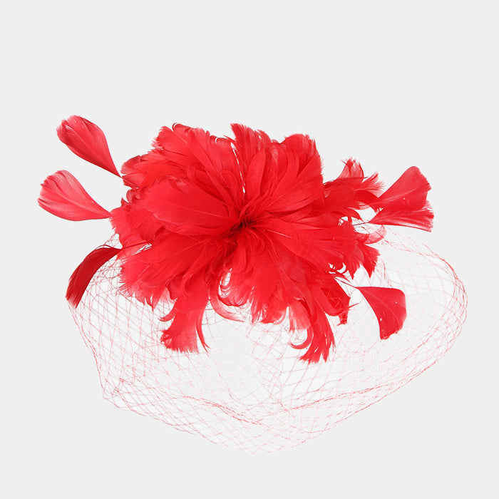 Red Feather Fascinator Hat